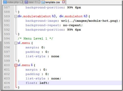 Шаблон joomla - ah-68 - Изменение ориентации меню в шаблоне